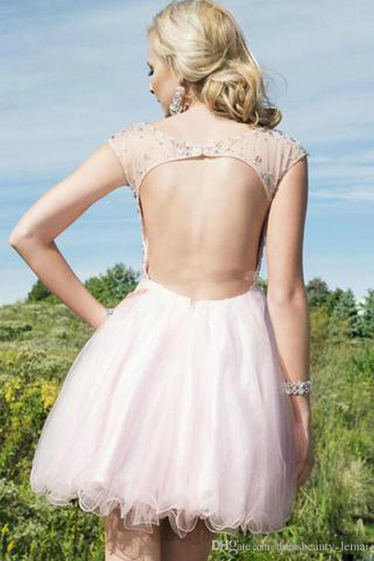 2018 New Cheap Free Fast Shipping Sweet 16 Graduation Dresses Charming Sparkly Pink Beading Tulle Short Homecoming Dresses Short Prom Gowns