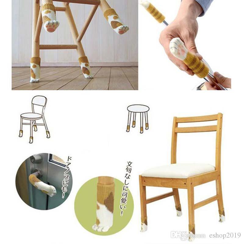 Tricot antidérapant chat chaise pattes de table couverture de manchon chaussettes de jambe de meubles protecteurs de plancher protecteurs de tapis antistatiques durables gant