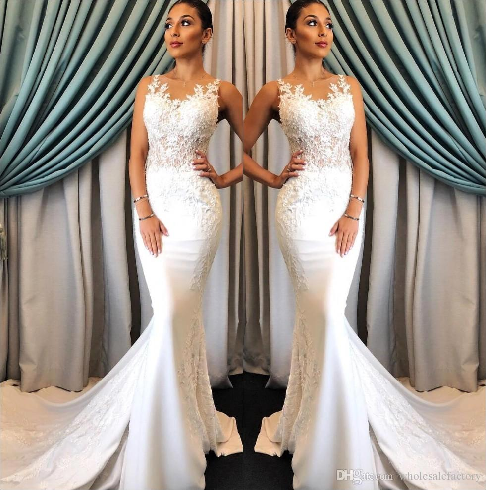 134b2e227404 2018 Sheer Mesh Top Lace Mermaid Wedding Dresses Tulle Satin Applique Sweep  Train Bridal Wedding Gowns BA9794 UK 2019 From Wholesalefactory, GBP  £114.22 ...