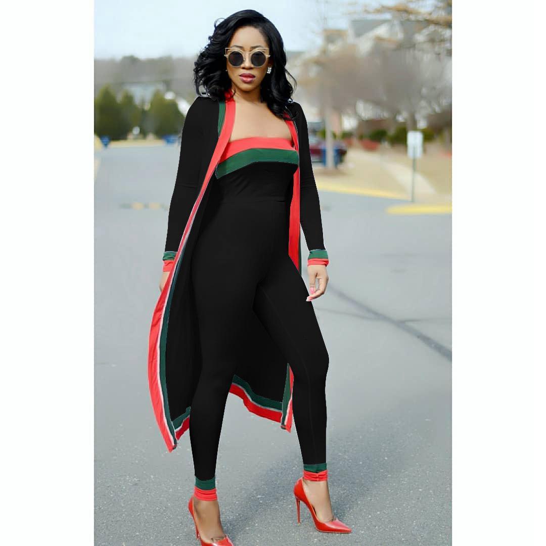 Completi primavera estate 2018 Collant petto avvolto con strisce rosse e verdi 3 pezzi Set mantello lungo mantello + pantaloni lunghi 3XL Plus Size
