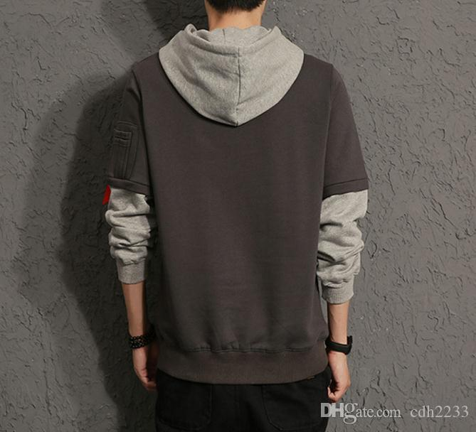 2018 autumn new men's sweater long-sleeved loose leave two hooded loose men's sweater