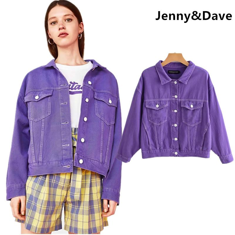 dae4d796e592 Jenny Dave Denim Jacket Women Harajuku High Street Purple Color Washed  Clear Sewing Thread Drop Shoulder Jackets Women Plus Size Nice Jackets  Straight ...