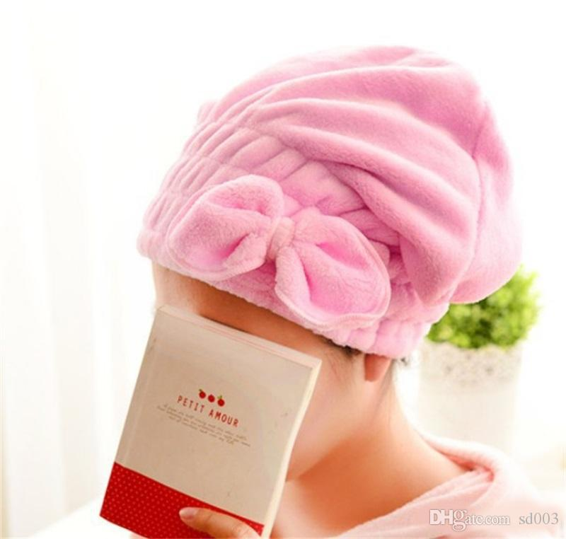90552707bf9 Dry Hair Shower Cap Water Absorb Quick Candy Colors Lady Coral Velvet  Bowknot Towel Practical Soft Touch Towels New 3 2rl ZZ Wash Towel Best  Quality Bath ...