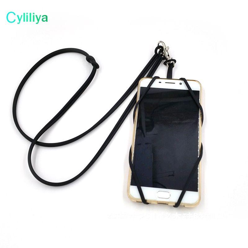 Titular do cartão de identificação do cartão de crédito colhedores de silicone pescoço cinta colar sling titular do cartão cinta para iphone x 8 universal celular móvel