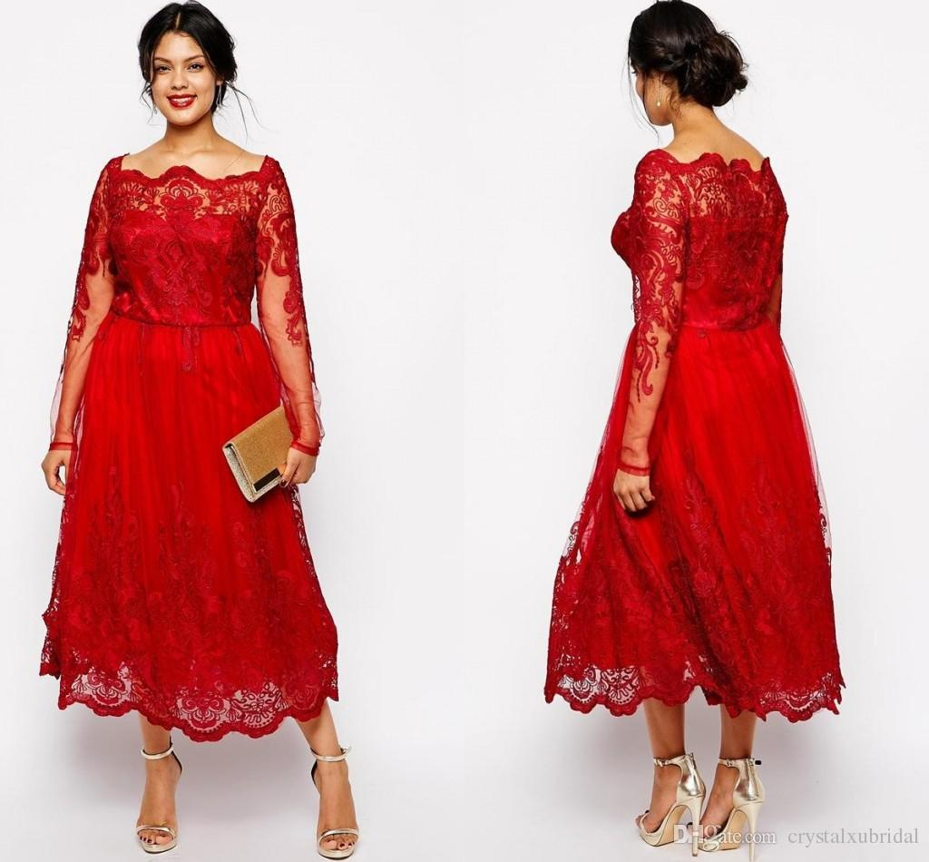 3a3c7bc4aee 2018 Cheap Red Mother Of The Bride Dresses Off Shoulder Long Sleeves Lace  Appliques Tea Length Plus Size Party Dress Wedding Guest Gowns Mother Of  The Groom ...