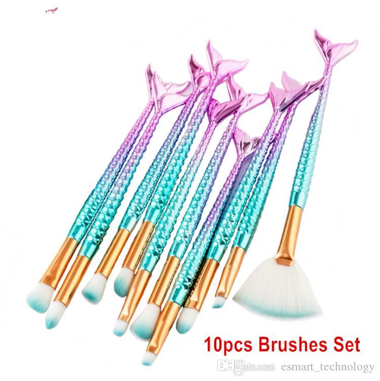 10 unids / set Maquillaje de Ojos Pinceles Conjuntos Sirena pinceaux de maquillage maquillaje Sistema de Cepillo de Alta Tecnología DHL Envío Gratis