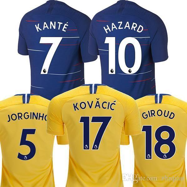 S-3XL 18 19 HAZARD JORGINHO MORATA Jerseys Soccer 2018 2019 GIROUD ... 52c950efe