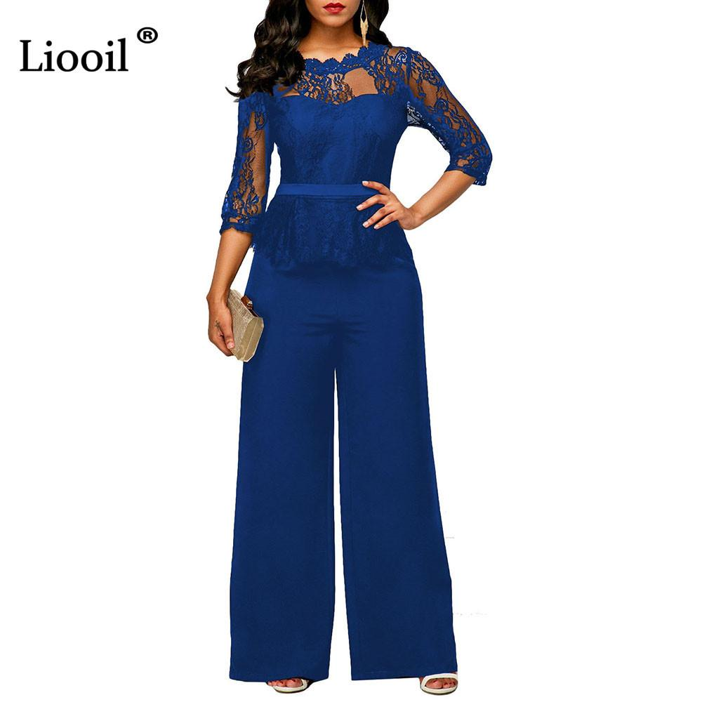 cf4205003c Wholesale Lace Rompers Womens Jumpsuit Long Pants And Sleeve Fashion Sexy  Club Zipper Wide Leg Black Blue Party Jumpsuits Overalls Jumpsuit Online  with ...