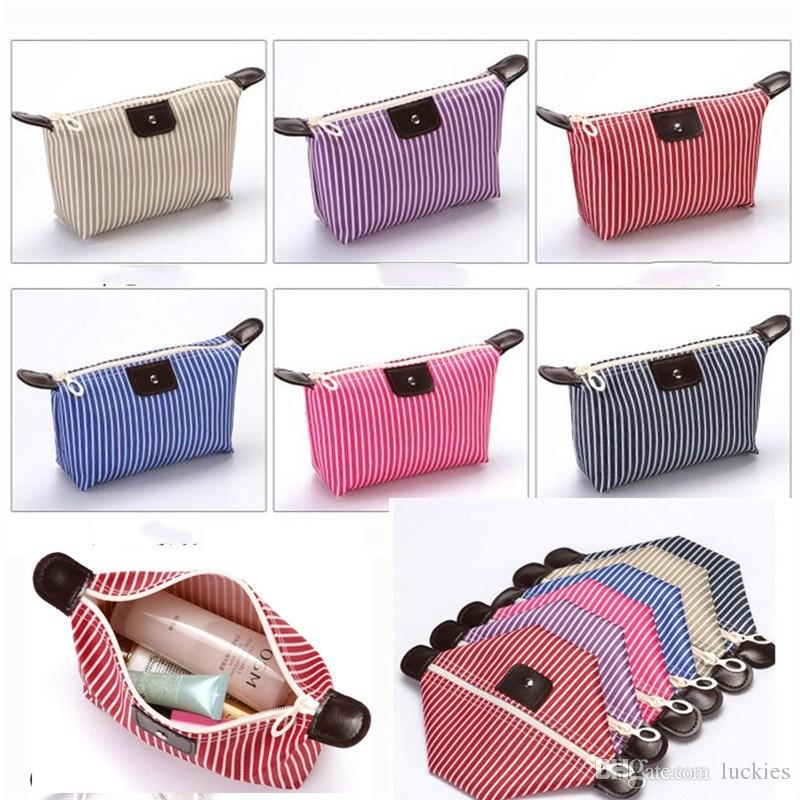 05a87bc4d7d7 Large Capacity Travel Cosmetic Bag Dumpling shape Toiletry Pouch Women  Travel Makeup Bags Girl Fashion Stripe Striped Cosmetic Pouch 0342