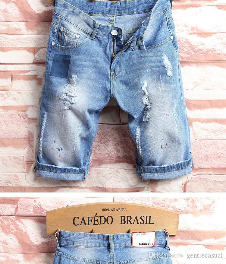 Mens Jean Shorts Sommer zerrissene Denim-Blau Halbknielangen Shorts Slim Fit Shorts