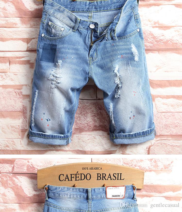 Mens Jean Shorts Summer Ripped Denim Blue Half Knee Length Shorts Slim Fit Shorts