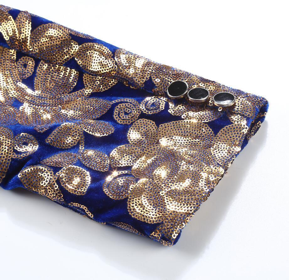 PYJTRL hombres elegante solapa chal azul marino de terciopelo Slim Fit Blazer Plus Size 5XL oro lentejuelas florales DJ cantante traje de boda chaqueta