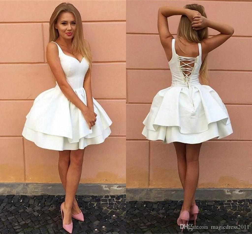 b26200e7841 2018 Sexy Criss Cross Straps White Homecoming Dresses V Neck Tiered Short  Party Dresses Puffy Cheap Cocktail Dress Prom Dresses Dress Long Dress  Online Shop ...