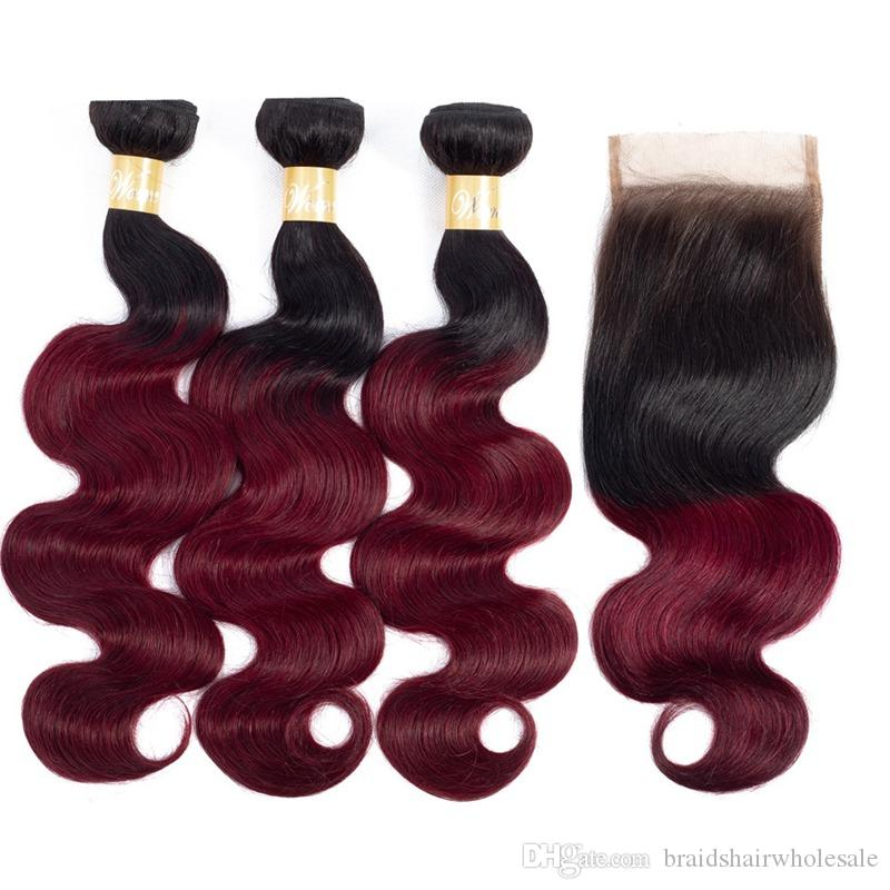 Ombre Two Tone T1b 99j Black To Burgundy Human Hair Lace Closure 4x4
