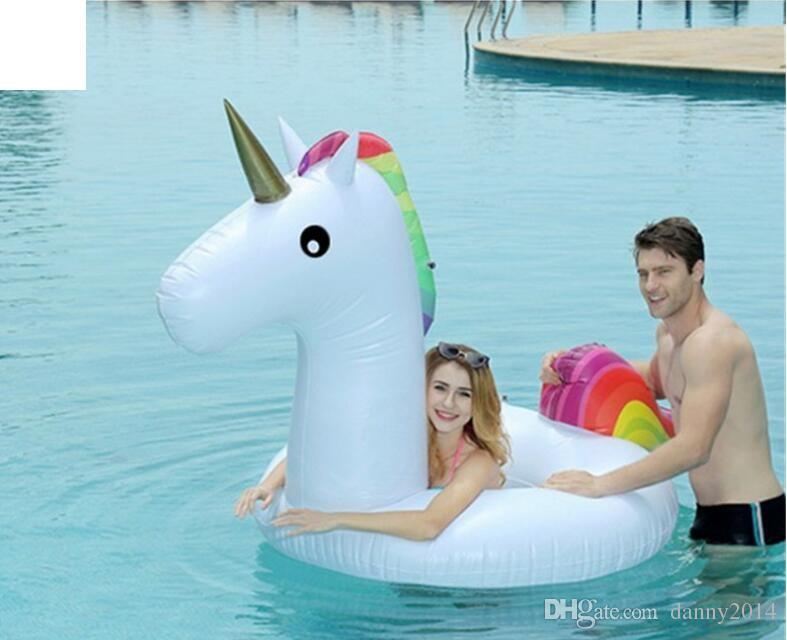 175cm INS inflable unicornio flotadores niños unicornio colchón toyt playa de la piscina Anillo del unicornio del bebé del anillo de vida boya flotante al aire libre Juego