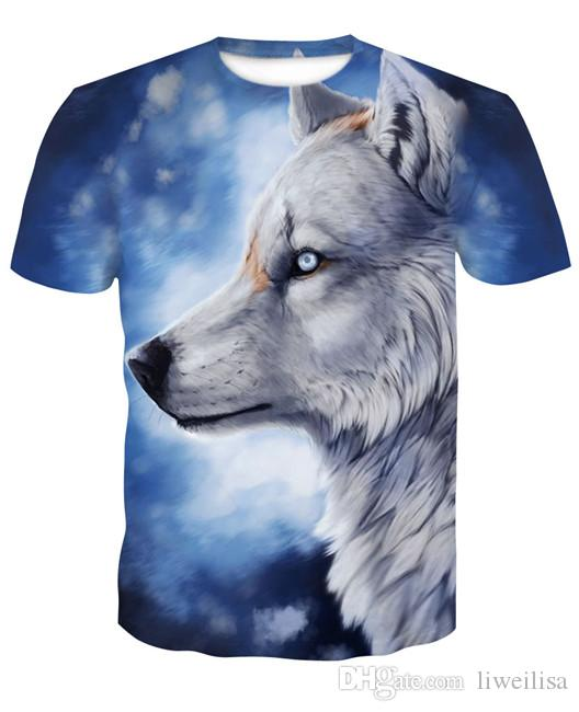 2018 Wolf T shirts 3D Men T-shirts Novelty Animal Tops Tees Male Short Sleeve Summer Round Neck Tshirts dropshiping