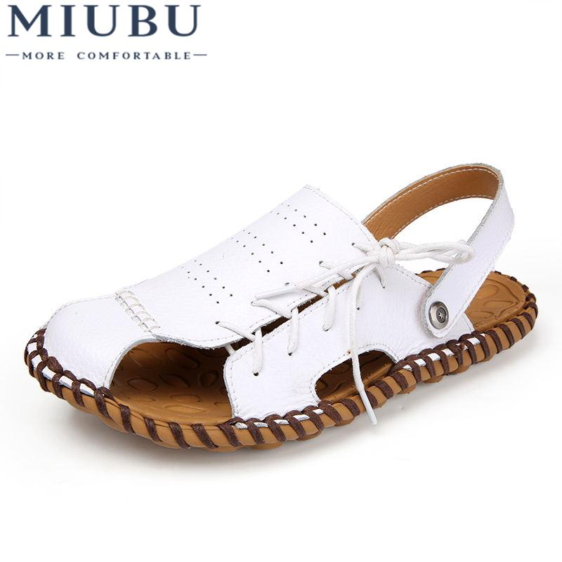 812c31933420 MIUBU Mens Sandals Genuine Leather Summer 2019 New Beach Men Casual Shoes  Outdoor Sandals Red Wedges Summer Shoes From Keroyeah