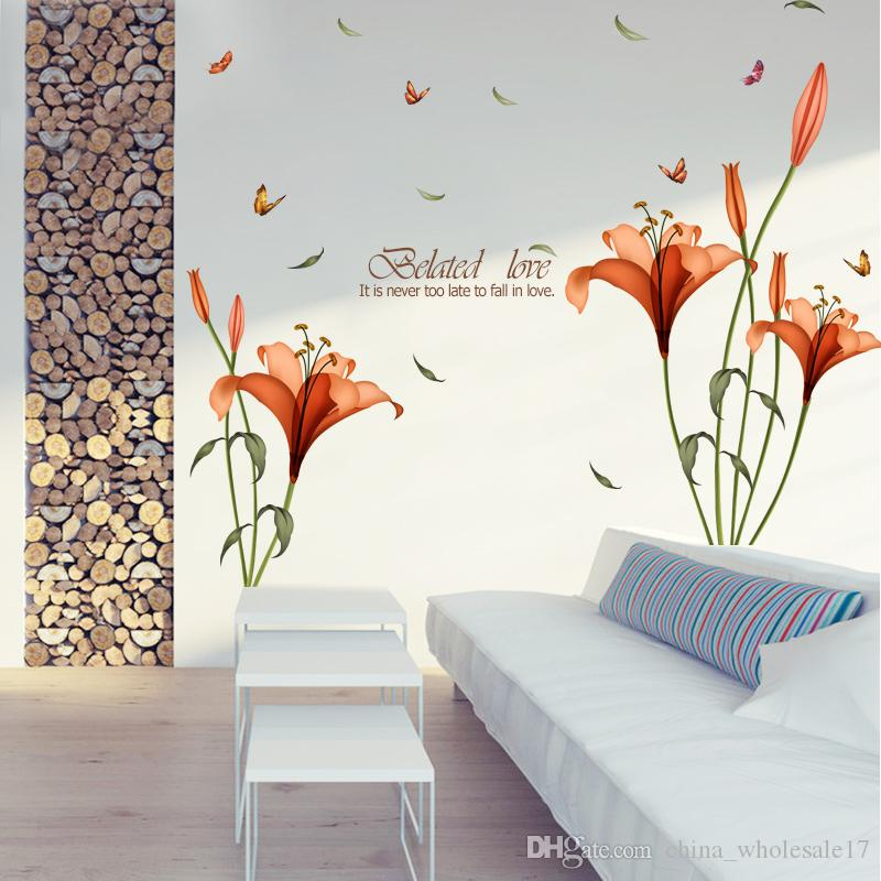 PVC orange flowers butterfly leaf wall stickers for kids rooms living room bathroom kitchen decor wall decals poster