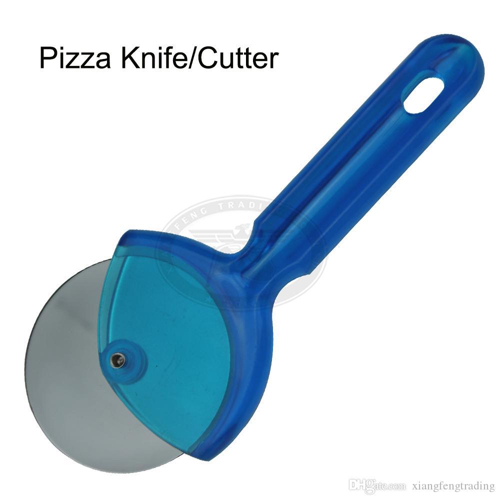 Cuisine gadgets outils rondelle à pizza coupe couteau en acier inoxydable couteau à pizza avec poignée pp coupe pizza roue XF029