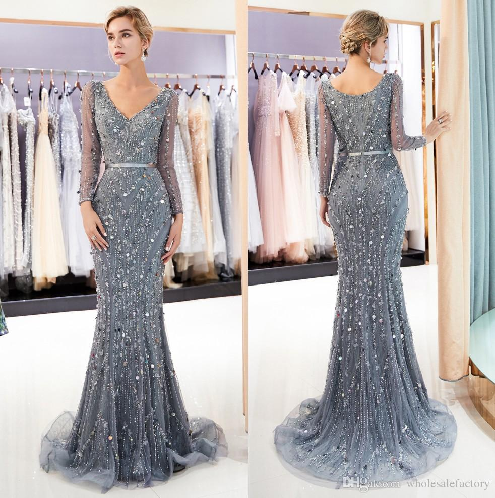 Sheer Long Sleeves V Neck Lace Mermaid Long Evening Dresses 2019 Tulle Lace  Beaded Sequins Sweep Train Formal Party Prom Dresses CPS1174 Ball Gown  Dresses ... 162062678bde