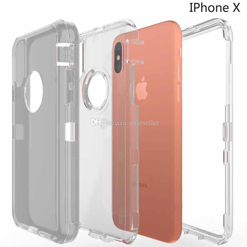 Crystal Hybrid Robot 3 in 1 transparent defender PC TPU clear Rugged boxes Cover case for iphone X 8 7 6 6S plus Samsung S9 S8 plus