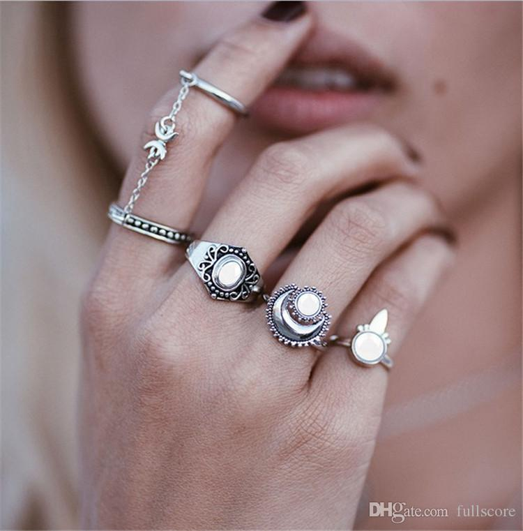 Bohemian Vintage Rhinestone Leaf Moon Jewelry Unique Carving Tibetan Gold  Silver Ring Set For Women Punk Boho Ring Sets Affordable Engagement Rings  Titanium ...