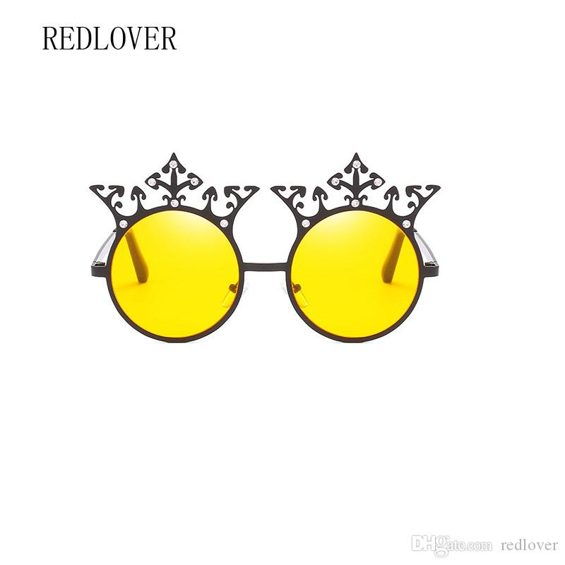 2018 New Fashion Vintage Crown Sunglasses Princess Decorative Round ...