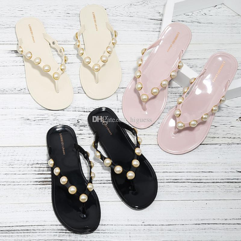 Brand Women s Sandals 2018 Summer Beaded Stone Pearl Female Sandals ... 8035b5f465ee