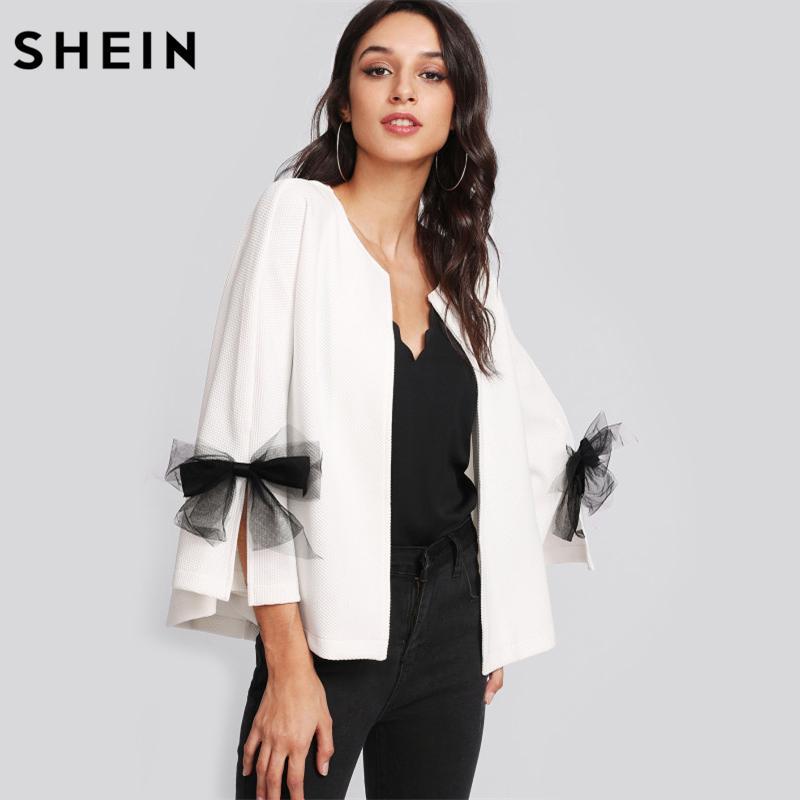 b5001e9b43327 Compre SHEIN Niñas Elegante Abrigo Blazer Mujeres Arco Hendidura Manga De  Campana Blazer Texturizado Blanco Blazer De Manga Larga De Tres Cuartos  D1892503 A ...