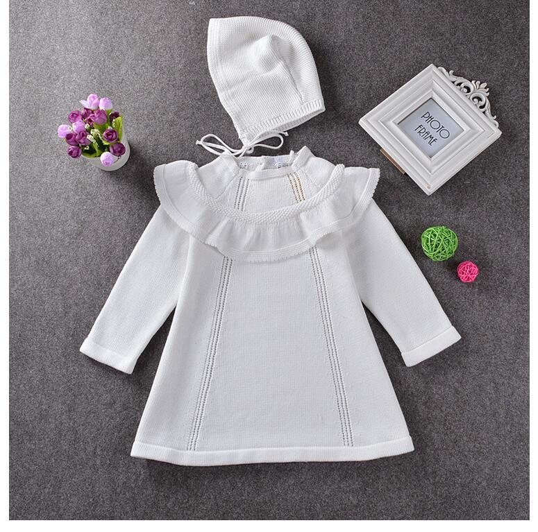 New 2016 Autumn Girl Princess Sweater Dress With Wool Cap Knitted Cute White RED Baby Dress For Infant Girl dress