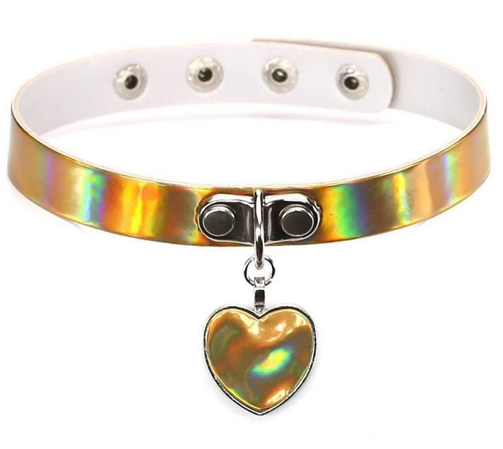 Rainbow Laser Love Heart Colgante de Cuero de LA PU Gargantilla Collar Collar Sub Slave Collar para Mujeres Joyería Declaración