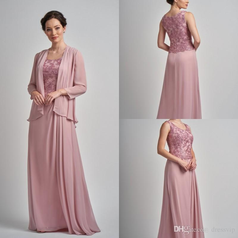 Elegant Mother Of The Bride Dresses With Jacket Lace Appliques Beaded Long Sleeves Plus Size Mother's Dress Evening Gowns For Weddings