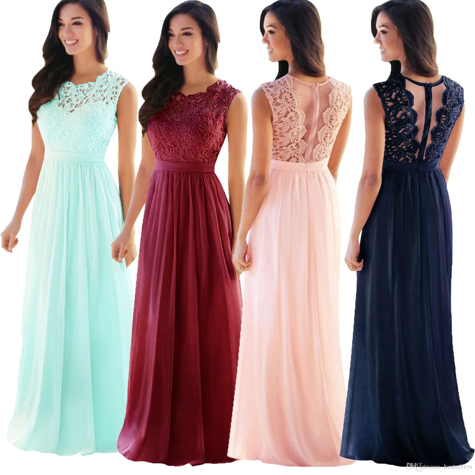 524ec39f6 Compre Vestidos De Dama De Honor Elegantes Baratos Blush Pink Mint Lace  Country Style 2018 Nuevos Vestidos De Dama De Honor A Line Vestidos Largos  De ...