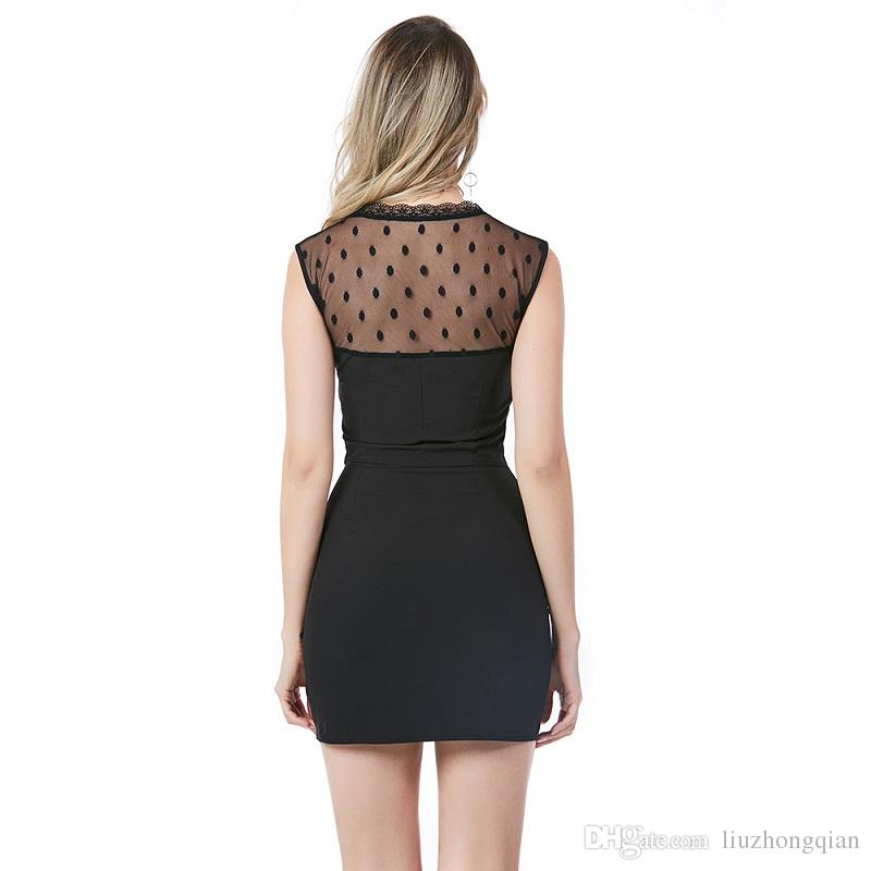 Beauty Garden Women Fashion Solid Sexy Lace Patchwork Dress Hollow Out O-Neck Sleeveless Black Dress With Zipper