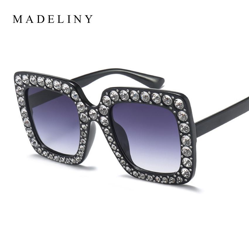 De Ma282 Femmes Marque Madeliny Haute Oculos Qualité Soleil Nuances Mode Strass Carrées 2017 Designer Lunettes Luxe Tu5JlKcF13