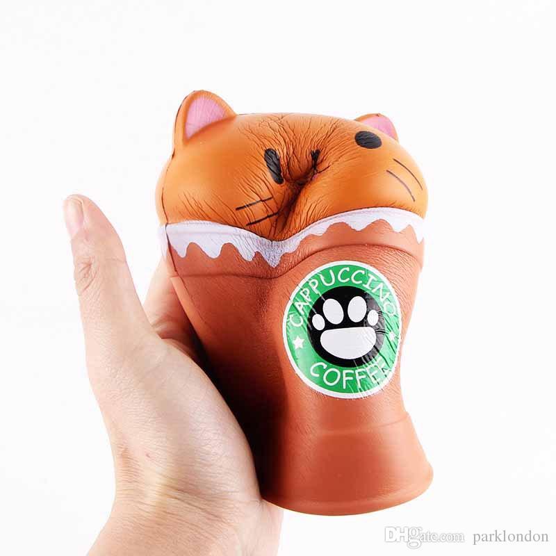 2018 حار بيع القط اسفنجي لعب القهوة كأس squishies لطيف الحيوان بطيئة تنفيس تنفيس الأطفال لعبة الهدايا جديد 14 سنتيمتر جامبو