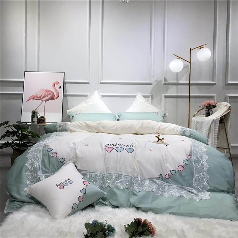 Großhandel Weiß Luxus Liebe Spitze Stickerei 60 S ägyptische