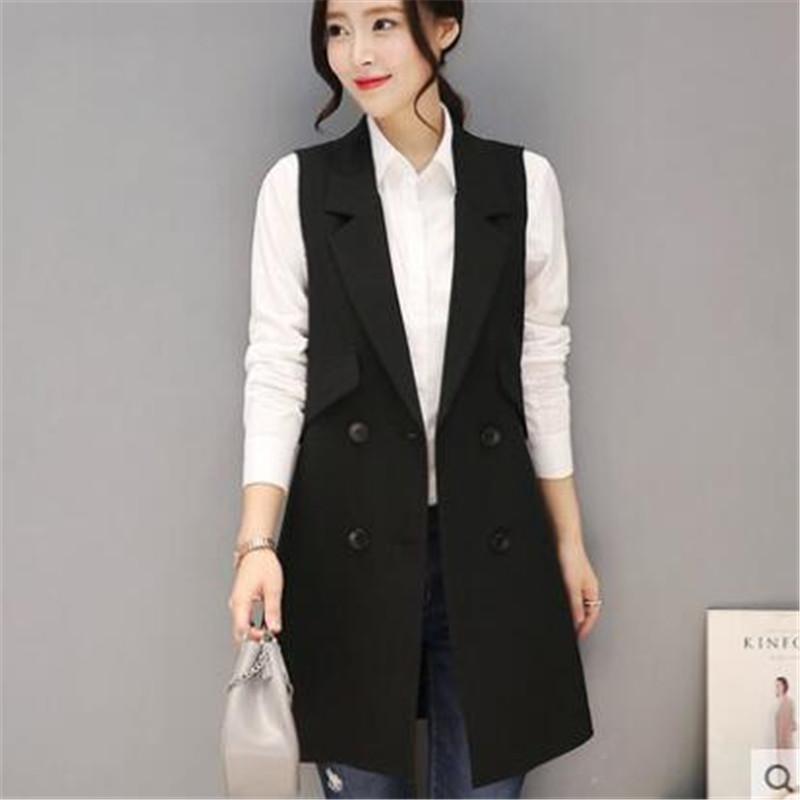 Fashion Sleeveless Jackets Vests For Women Black 2017 Office Lady