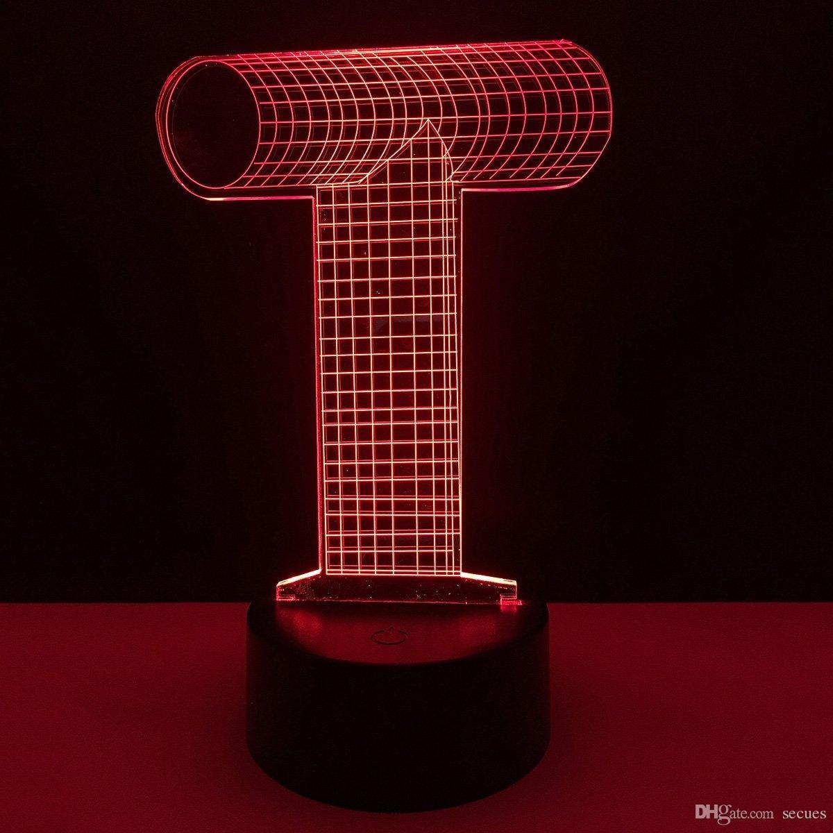 New T Letter Design 3D Illusion Optical LED Lamp Letters Decoration Light DC 5V USB Powered 5th Battery Wholesale