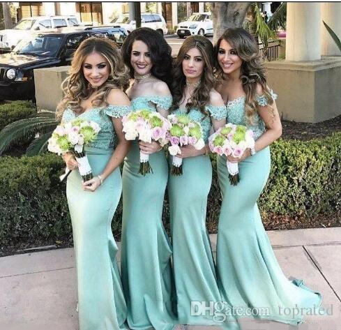2019 Charming Mint Green Mermaid Bridesmaid Dresses Off the Shoulder Lace Backless Wedding Guest Gown Plus Size Cheap Maid of Honor Dresses