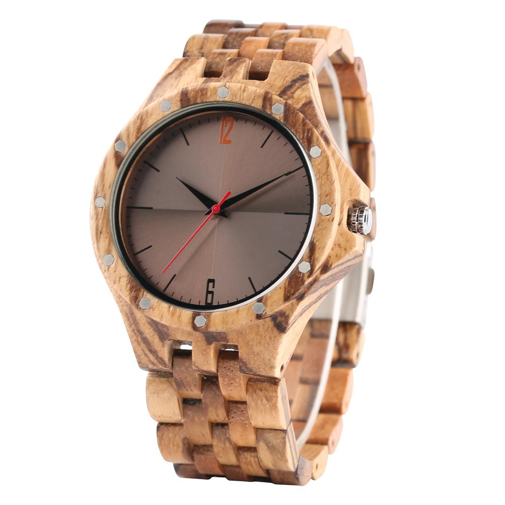 Wooden Mens Watch Rivet Design Quartz Men's Wood Wrist Watch Coffee Brown Display Dial Punk Cool Male Casual Clock Best Gifts