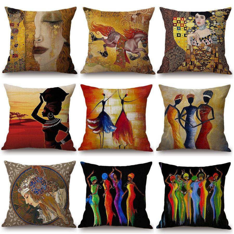 Grand Acheter Afrique Peinture Art Africain Impression Housse De Coussin Exotique  Décoration Style Canapé Coussin Couverture Lin Peinture À Lu0027huile Chambre  Décor ...