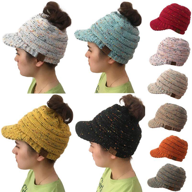 168b6f0c60d Women Knitted CC Ponytail Caps Winter Warm Beret Hat Crochet Ski ...