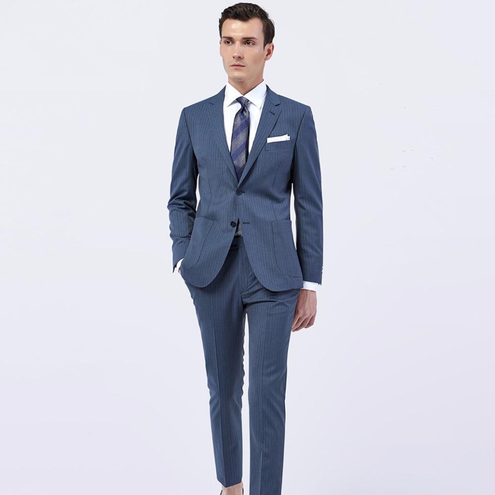 Acquista Custom Made Dark Grigio Blu Navy Gessato Uomo Abiti Tailored Made  Gessato Uomo Suit Bespoke Groom Tuxedo A  254.66 Dal Vineger  31c89932eea