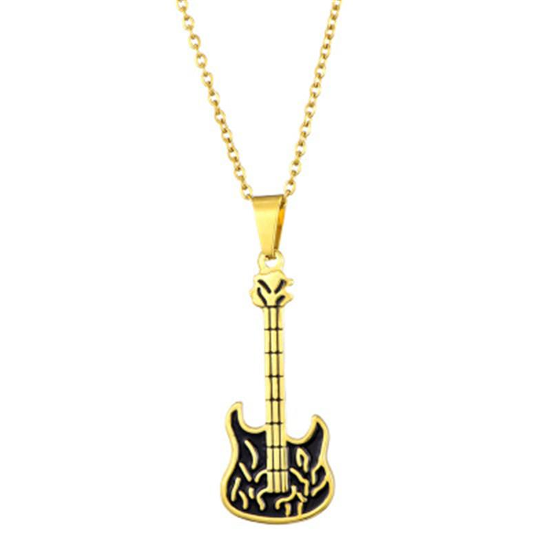 Wholesale Flame Electric Guitar Pendant Necklace Gold Plated