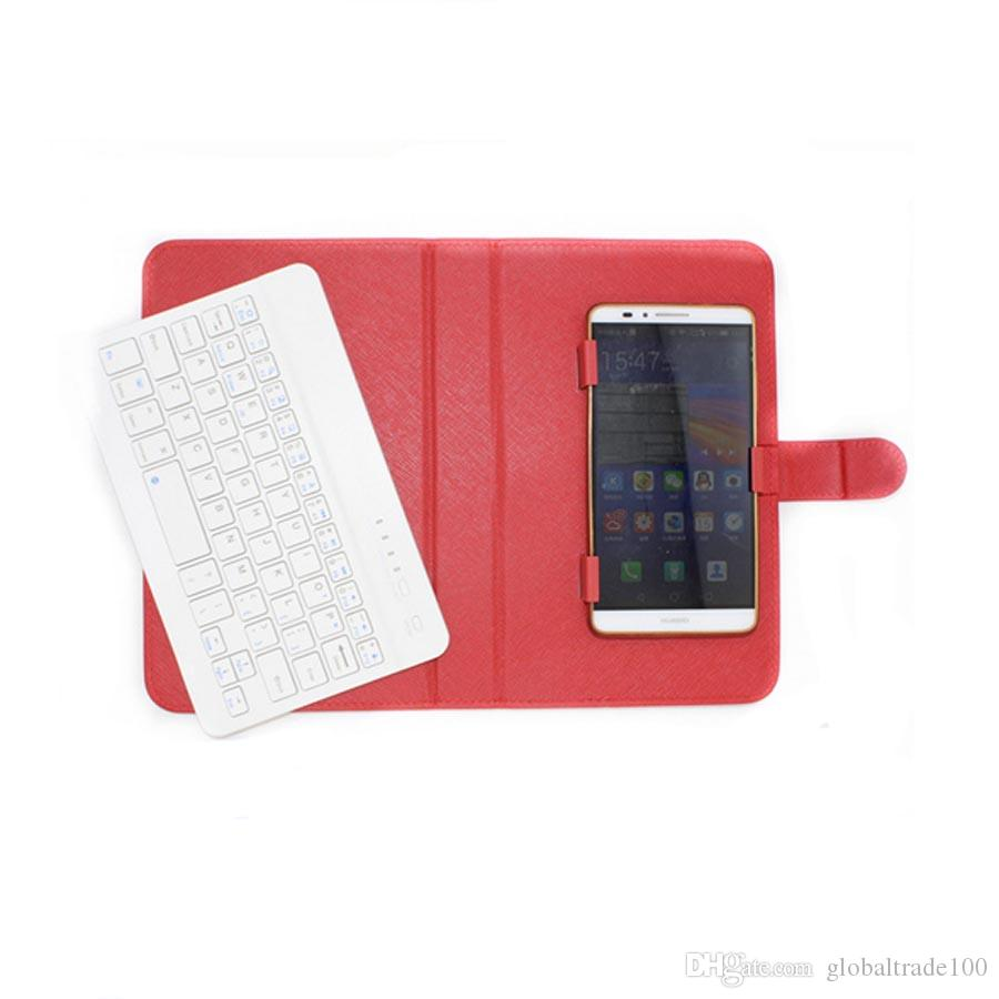 "New Universal Wireless Bluetooth Keyboard PU Leather Protective Case For iPhone Samsung Huawei LG 4.5"" - 6.8"" Mobile Cell Phone"