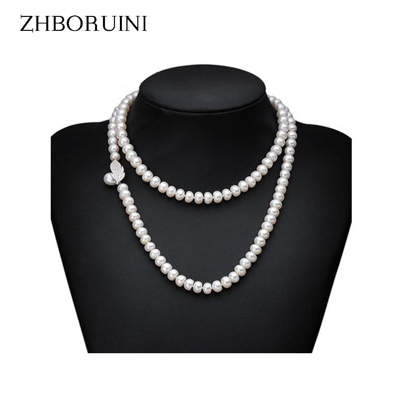 ae2263f04eb777 2019 ZHBORUINI Genuine Pearl Necklace Natural Freshwater Pearl Long Necklace  925 Sterling Silver Statement For Women Gift From Blingship, $40.81 |  DHgate.