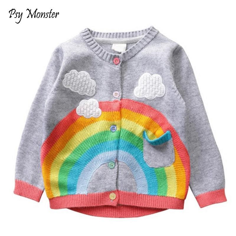 Girls Sweater Cardigan Coat Spring autumn New Kids Short Sweatershirts  Children Rainbow Clouds Cotton Outwear