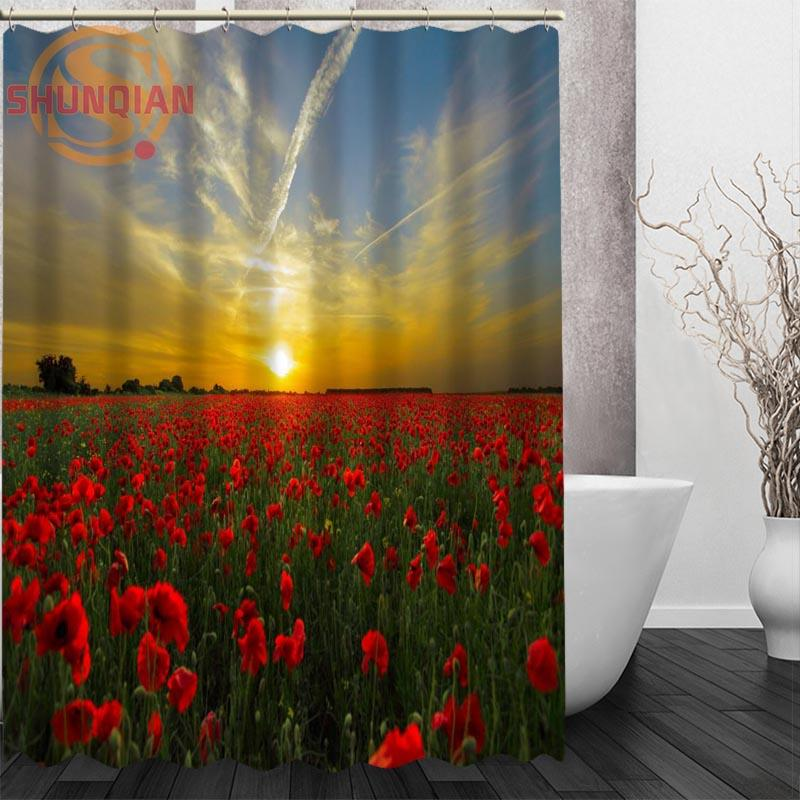 Wholesale Poppies Red Flowers Shower Curtain Eco Friendly Modern Fabric  Polyester Custom Bath Curtains Home Decor Curtains Red Flower Shower  Curtain Flower ...