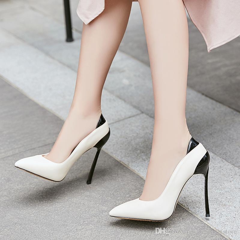 1ced131bbb Sexy shallow mouth pointed toe slip on stiletto heel women pumps thin high  heels office work ladies pumps party wedding dress women shoes